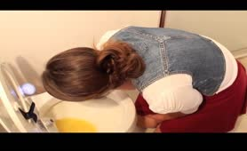 College girl puking hard