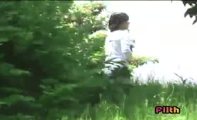 Japanese woman pooping in public