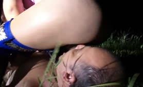 Redhead teen feeding her male slave