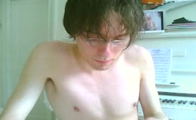 Skinny nerd college boy jerking off with scat