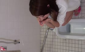 Japanese hot gal pooping in public bathroom