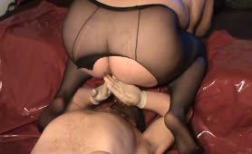 Hot babe pooping on her slaves face