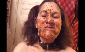 Fresh shit on her entire face