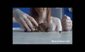 Redhead teen eating fresh shit