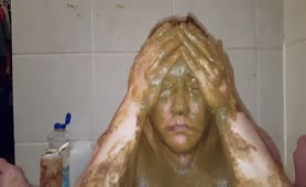 Pink haired wife covered in fresh shit