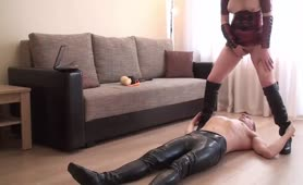 Scat mistress shitting on her scat slave