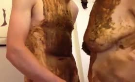 Dirty couple fucking with poop