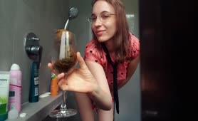 Shitting solo in a wine glass