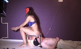 Beautiful mistress pooping on male slave