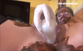 Puke and shit on her body
