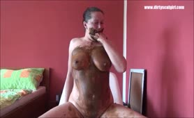 Mature woman eating scat