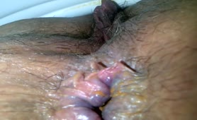 Hairy pussy in close up