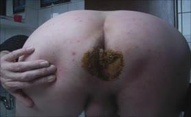 Scat condom on his dick