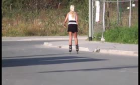 Busty blonde babe peeing in public
