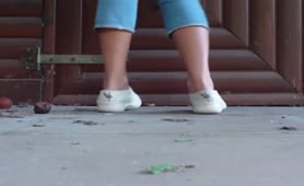 Sexy teen pooping on front porch