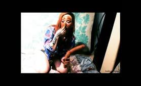 Redhead teen using a dirty dildo to masturbate