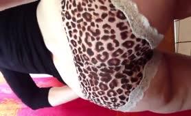Big turd in grey panties