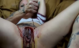 Girl on period eating her own shit
