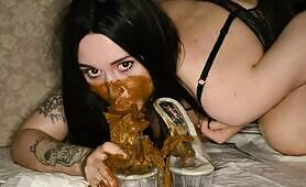 dark haired babe shits a lot and smears it